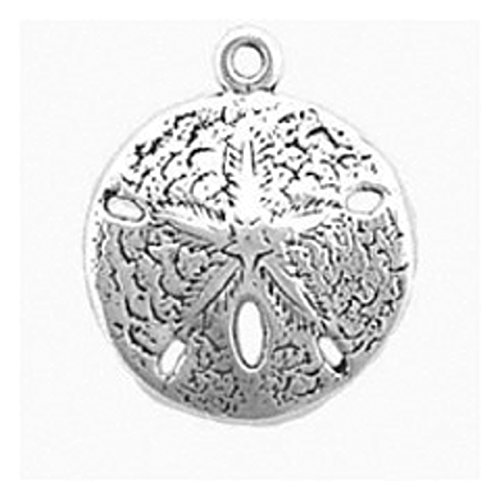 "Sterling Silver 7"" 4.5mm Charm Bracelet With Attached 3D Large Highly Detailed Sand Dollar Charm"