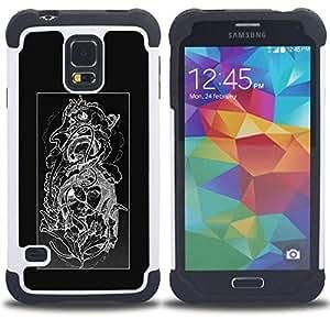 """Pulsar ( Diseño floral Negro Blanco Cráneo floral"""" ) SAMSUNG Galaxy S5 V / i9600 / SM-G900 V SM-G900 híbrida Heavy Duty Impact pesado deber de protección a los choques caso Carcasa de parachoques"""