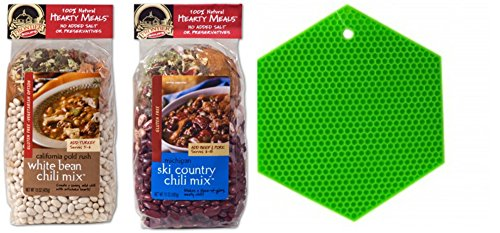 Frontier Soups Hearty Meals Chili 2 Flavor Gift Pack: (1) Michigan Ski Country Chili Mix and (1) California Gold Rush White Bean Chili Mix (2 Bags Total) Plus Silicone Pot Holder