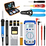 LIUMY 15 in 1 Soldering Iron Kit, 60W Adjustable Welding Iron︱Digital Multimeter︱5pcs Soldering Iron Tips︱Electrical Pen︱Double Screwdriver︱Soldering Station︱Wire Stripper Cutter︱Heat Shrink Tube