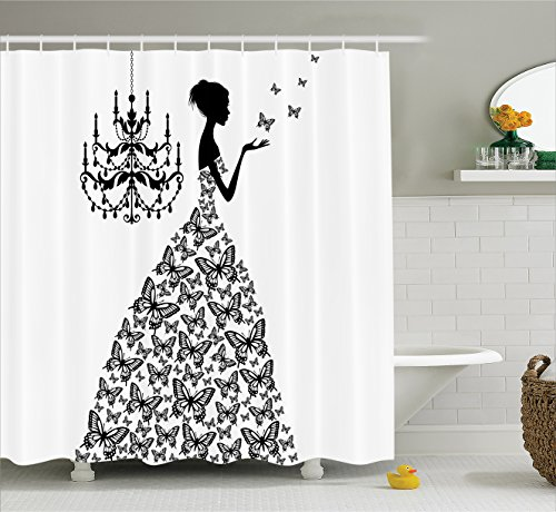 Ambesonne Extra Long Fabric Shower Curtain Bathroom Accessories Collection Butterflies Chandelier Princess Wedding Gown 84 Inch Long Black White