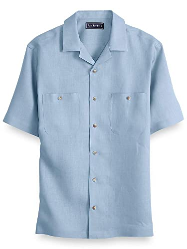 Vintage Shirts – Mens – Retro Shirts Paul Fredrick Mens Slim Fit LinenShort Sleeve Casual Shirt $85.00 AT vintagedancer.com