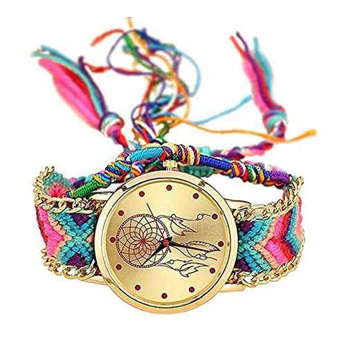 MINILUJIA Bohemia Adjustable Dreamcatcher Watch Dream Catcher Handmade Rope Bracelet Women Wrist Watch with Free Colorful Rope Bracelet (Watch Bracelet Large)