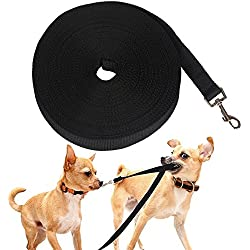 Pustor Large Nylon Black Long Training Leash Durable Lead Extra Long Dog Leashes For Training Large or Small Dogs 50-Feet