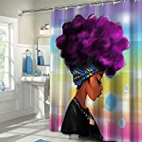 Colorful Star Afro African Woman Design Shower