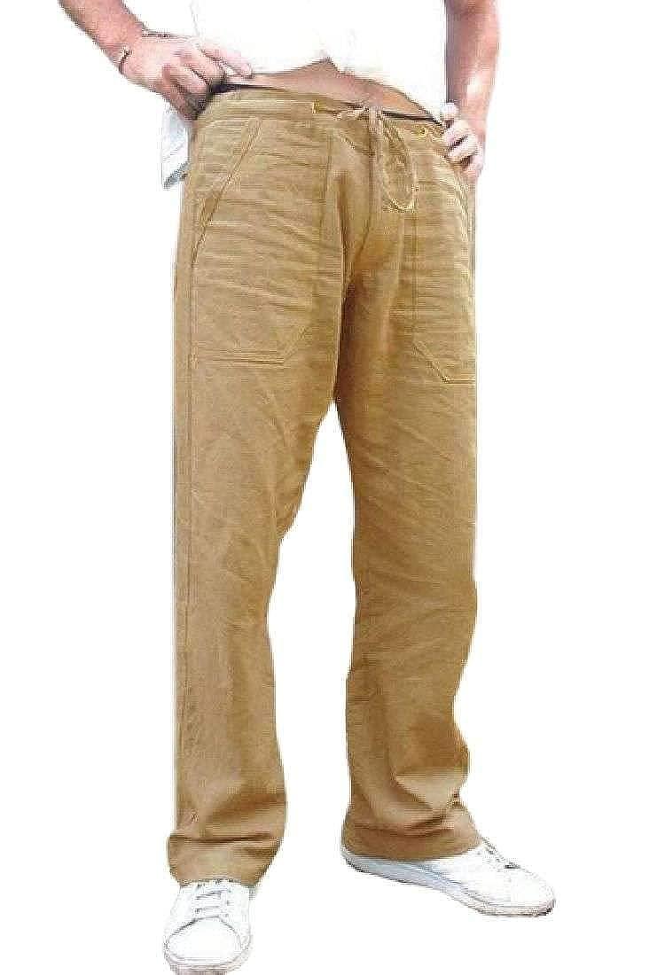 X-Future Mens Classic Elastic Waist Drawstring Straight Pockets Solid Color Pants