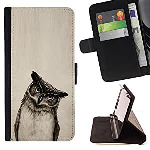 Owl Drawing Art Pencil Black White Bird Night - Painting Art Smile Face Style Design PU Leather Flip Stand Case Cover FOR Apple Iphone 5C @ The Smurfs