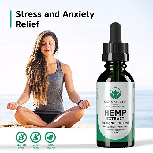 CannaTrust Full Spectrum Hemp Extract Oil - All Natural Blend - for Pain, Anxiety and Inflammation - 500mg Ultra Pure - Sleep Better - Reduce Stress - Restore Balance - 1oz by CannaTrust (Image #3)