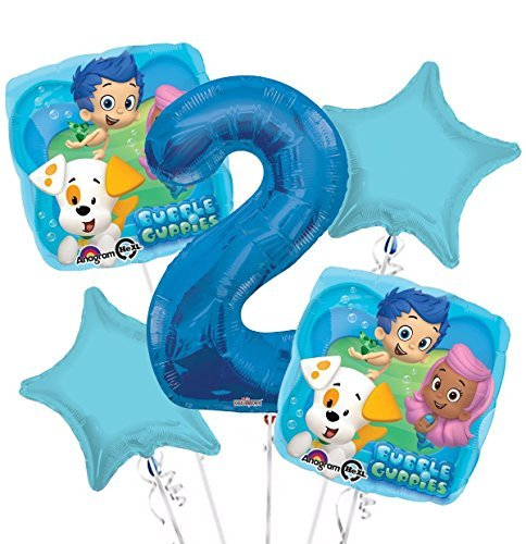 Bubble Guppies Balloon Bouquet 2nd Birthday 5 pcs - Party Supplies ()