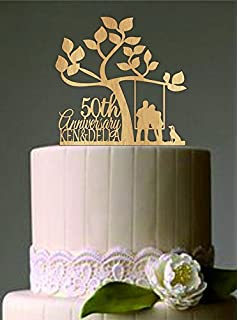 Amazon.com: Gold Anniversary Wedding Cake Topper with 2 hearts each ...
