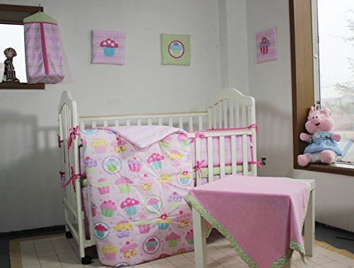 100% Cotton Pink Crib Bedding Set, Colorful Cup Cake Nursery Bedding Set for Baby Girl Princess Bedding 12 PCs Set with 3 Wall Hangings 2 Fitted Sheet Solid Cotton