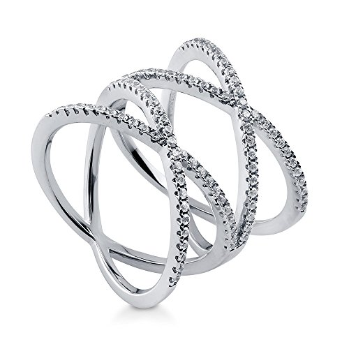 Cross Cocktail Ring (BERRICLE Rhodium Plated Sterling Silver Cubic Zirconia CZ Criss Cross Cocktail Ring Size 4)