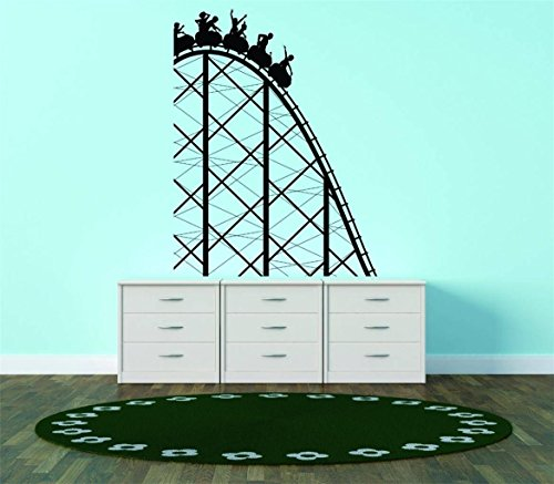 Reduced Wall - Top Selling Decals - Prices Reduced : Vinyl Wall Sticker : Roller Coaster Amusement Park Ride Kids Bedroom Bathroom Living Room Picture Art Peel & Stick Mural - Size: : 20 X 16 Inch