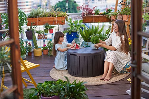 Amazon.com : Keter 37 Gallon Circa Natural Wood Style Round Outdoor Storage  Table Deck Box : Patio, Lawn U0026 Garden