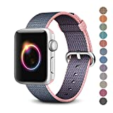 Woven Nylon Replacement Band for the Apple Watch by Pantheon, Women's or Men's, Strap fits the 38mm or 42mm for Apple iWatch 1, 2, 3 and Nike edition (38mm, Solid, Light Pink and Blue)