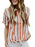 Ivay Women's Striped Button up Front Tie Shirt Casual Summer Loose Short Sleeve Tops