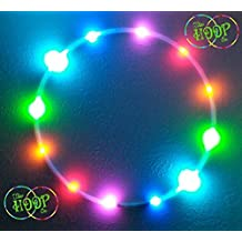 """LED Hulahoop hula hoop 30"""" OD, 12-LEDs (Rainbow mirror) 3/4"""" HDPE tubing 8 Ounce with Charger & rechargeable battery (30"""")"""