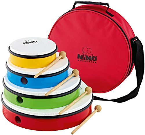 Nino Percussion NINOSET6 Hand Drum Set with 4 Drum Sizes, Includes 4 Mallets & Bag by Nino Percussion