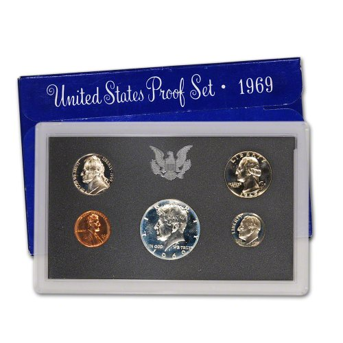 1969 S US 5 Piece set Proof In original packaging from mint Proof (1969 Coin)