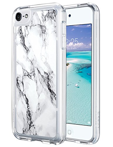 ULAK iPod Touch 6 Case,iPod 6 Case Marble,iPod Touch 6 Clear Case Slim Anti-Scratch Flexible Soft TPU Bumper PC Back Hybrid Shockproof Protective Case for Apple iPod Touch 5/6th-Marble Pattern