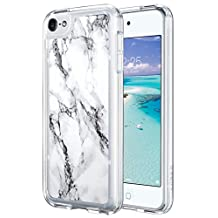 iPod Touch 6 Case,ULAK [CLEAR SLIM] Flexible Soft TPU Bumper PC Back Hybrid Shock Absorption Case with Fabulous Glossy Pattern for iPod Touch 6/iPod Touch 5 -Artistic-marble pattern