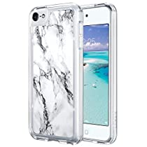 iPod Touch 6 Case,ULAK Clear slim Flexible Soft TPU Bumper PC Back Hybrid Shock Absorption Case with Fabulous Glossy Pattern for Apple iPod Touch 6/iPod Touch 5, Mint Marble
