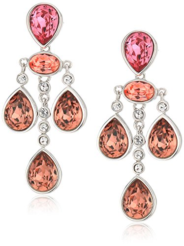 Rose Swarovski Crystal Silver Plated - Platinum Plated Sterling Silver Swarovski Crystal Rose Peach Drop Earrings