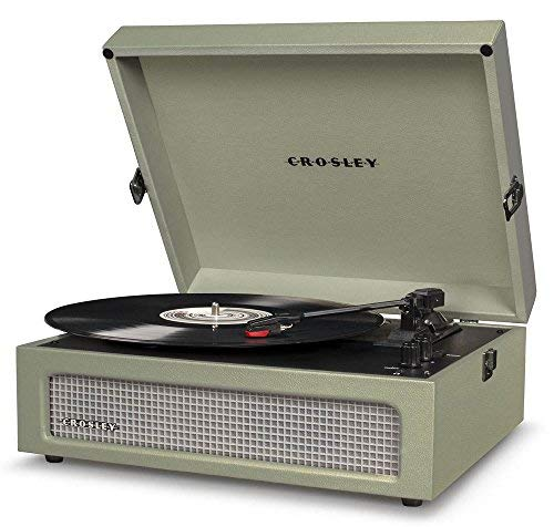 Crosley CR8017A-SA Voyager Vintage Portable Turntable with Bluetooth Receiver and Built-in Speakers, Sage from Crosley