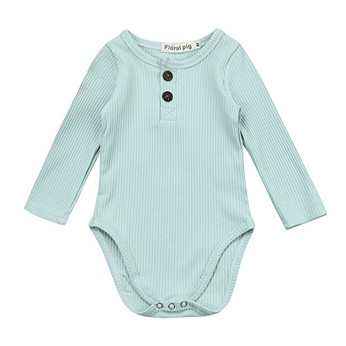 Birdfly Newbown Baby Ribbed Knit Sweather Rompers Bodysuit Long Sleeves Onesies Solid Pastel Casual Fall Winter Outfits (6M, (Ribbed Striped Bodysuit)