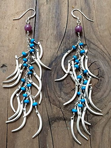 Thai Karen Hill Tribe Silver Claw Earrings with Turquoise and Ruby