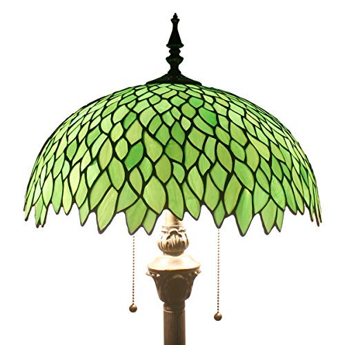 Stained Glass Shade - Green Wisteria Tiffany Style Floor Standing Lamp 64 Inch Tall Stained Glass Shade 2 Light Pull Chain Antique Base Chain for Bedroom Living Room Lighting Table Set S523 WERFACTORY
