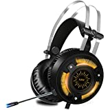ALWUP Stereo Gaming Headset for PS4, Xbox One Headset, Lightweight Noise Cancelling Over Ear PC Gaming Headphones with Anti-Noise Mic, 50mm Drivers, Surround Sound, Soft Memory Earmuffs