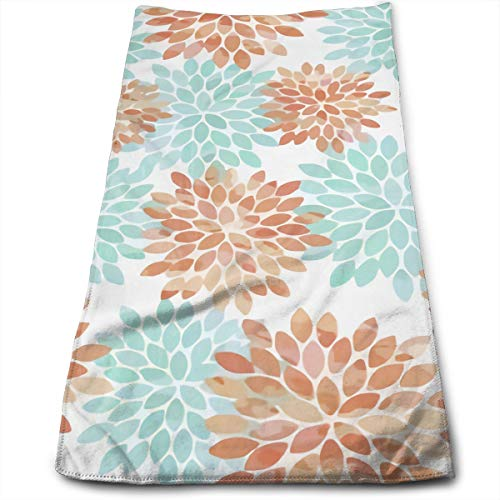 (ASDGEGASFAS Aqua and Coral Flowers Microfiber Hand Towel Water Absorbent Soft Polyester Lightweight Travel Towel,Bath Sheet for Bath Hand Face Hair Gym and)