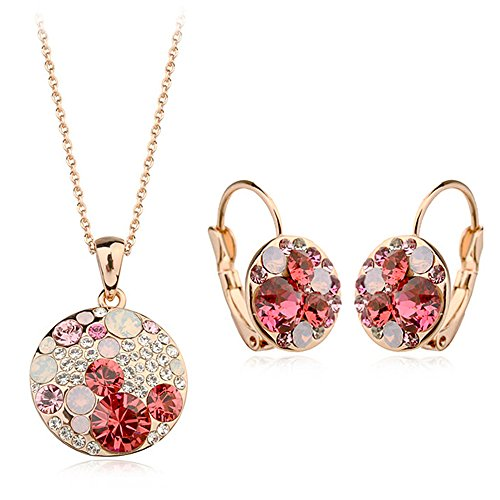 Gold Plated Red Mickey Mouse Swarovski Elements Crystal Pendant Necklace Leverback Earring Jewelry Set for Girls