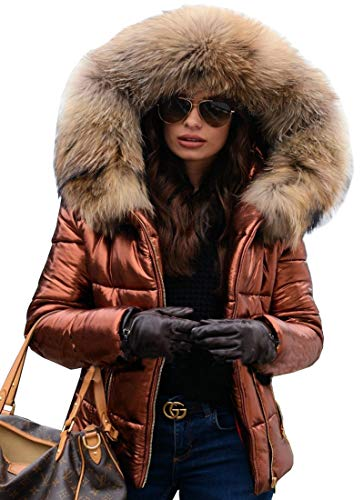 Aofur Womens Ladies Quilted Winter Coat Fur Collar Hooded Down Jacket Parka Outerwear (Large, Brown)