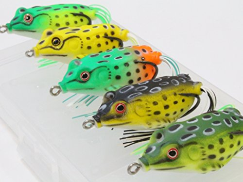 wLure 5 Hollow Body Topwater Frogs Fishing Lures Baits with Free Tackle Box 2 1/5 Inch 3/8 Oz FG43KBUS
