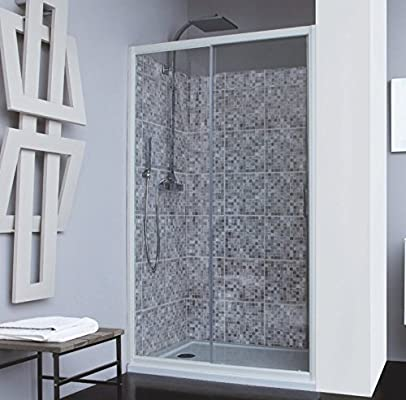 Mampara de ducha 2 paneles: fijo + puerta deslizante vidrio ...