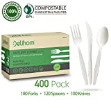 Delihom Compostable Utensils Set - 400 Piece - Disposable Forks, Spoons, Knives - Eco & BPA Free Party Supplies,Sturdy and Durable Non-Toxic Utensils for Wedding, Picnics, Office and Outdoor Picnic