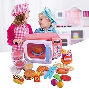 Juguete para microondas, cocina Pretend Play Fake Food, con luces ...