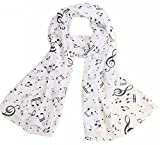 Uget Women's Music Note Print Chiffon Long Scarf Wrap Shawls