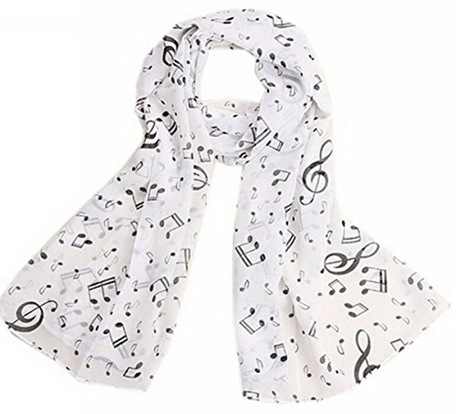 Price comparison product image Uget Women's Music Note Print Chiffon Long Scarf Wrap Shawls