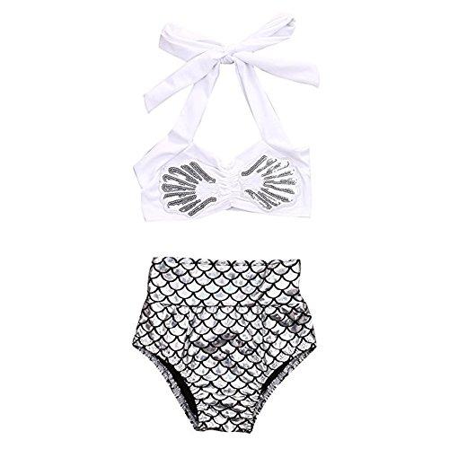 BiggerStore 2Pcs Kids Baby Girls Tankini Bikini Set Summer Mermaid Swimwear Beachwear (80cm/6-12 Months, Shorts) (Beachwear Summer)