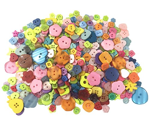 Favorite Findings Buttons (500 Pieces Assorted Buttons for Arts & Crafts, Decoration, Collections, Sewing, Different Color and Style For Crafts Resin Round Buttons Craft Buttons Favorite Findings Basic Buttons)
