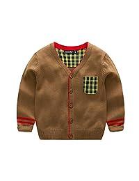 DDMount Boy Cotton Knitwear Single-Breasted Plaid Striped Cardigan Soft and Warm