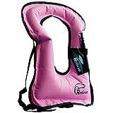 Rrtizan Unisex Adult Portable Inflatable Canvas Life Jacket Snorkel Vest For Diving Safety (pink)
