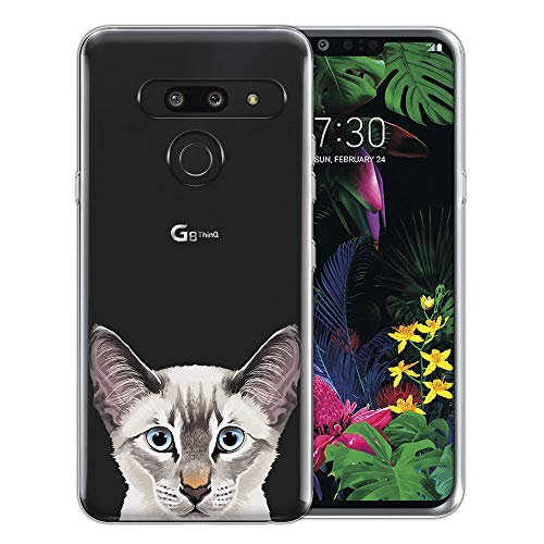 - FINCIBO Case Compatible with LG G8 ThinQ G820 6.1 inch, Clear Transparent TPU Silicone Protector Case Cover Soft Gel Skin for LG G8 ThinQ - Lynx Point Lilac Siamese Cat