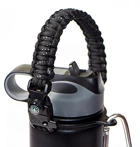 WaterFit Paracord Carrier Strap Cord with Safety Ring and Carabiner for 12-Ounce to 64-Ounce Wide Mouth Water Bottles, BlackSpeckled/Compass+FireStarter