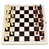 Brybelly 14-Inch Natural Folding Wooden Chess Game with Wood Carved Game Pieces