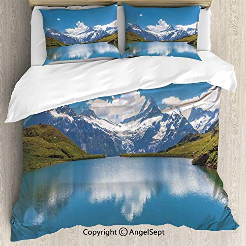 - SfeatruAngel 3-Piece Bed Set Duvet Cover Set,Dreamy View of Alpine Lake with Snow Frozen Peaks Swiss Northern Explore Photo,Full Size,Lightweight Bedspread for Spring and Summer,Blue Green White
