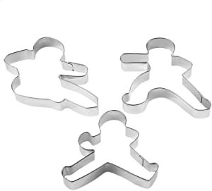 Yunko Ninjabread Man Stainless Steel Fondant Cookie Cutter Cake Decorating Tools Set of 3